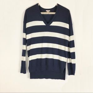 Gap Navy/white striped long sleeve sweater Small